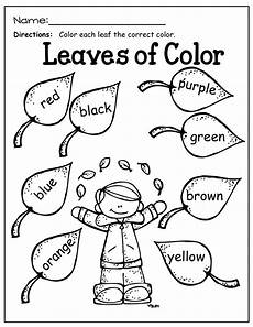 learning colors worksheets for kindergarten 12774 fall math and literacy packet kindergarten fall kindergarten
