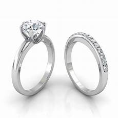 six prong solitaire engagement ring pav 233 wedding band