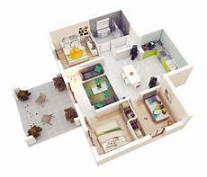 three roomed house plan 3d one bedroom with toilet and store without living room