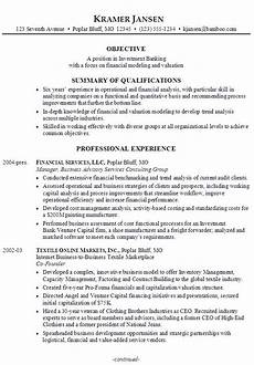 sle resume for someone seeking a in investment banking with a focus financial modeling