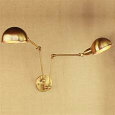 design luxury vintage brass gold double head swing arm edison wall l e27 led adjustable metal