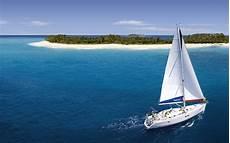 wallpaper sailing yacht island ocean tropics desktop