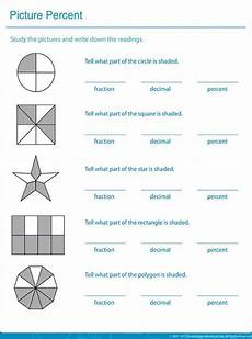 write down the shaded area in fractions decimals and percentages printable math sheets