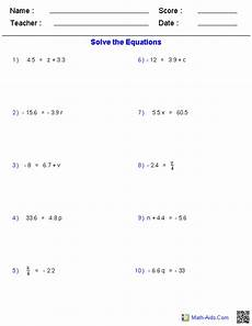 one step equations worksheets containing decimals math aids algebra worksheets algebra