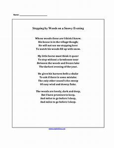 poetry meaning worksheets 25323 poetry worksheets stopping by the woods poetry worksheets