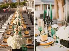 emerald gold cream wedding t is for table elegant