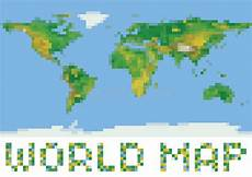 pixel art style world physical map with green and stock vector image 45497237