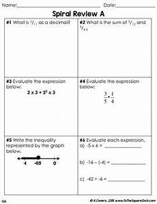 math spiral review worksheets 7th grade math october tpt