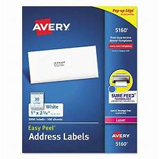 avery 5160 easy peel address labels laser 1 2 5 8 white 3 000 labels sam s club