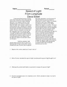 speed of light worksheet speed of light worksheet for 7th 12th grade lesson planet
