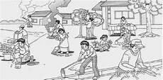 Gambar Gotong Royong Di Sekolah Kartun Hitam Putih Ideku