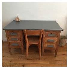 Grand Bureau En Bois Marron Et Gris Vintage For The Home