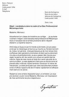 Lettre De Motivation Bac Pro M 233 Canique Auto Mod 232 Le De Lettre