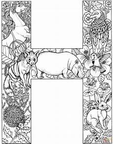 colouring pages for adults of animals letters 17309 letter h with animals coloring page free printable coloring pages alphabet letters to print