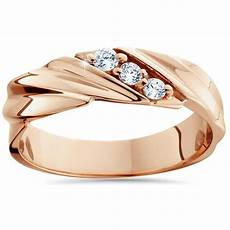 1 10ct diamond 14k rose gold mens wedding ring ebay