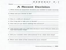 decision making worksheets free printable worksheets