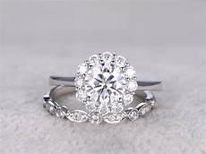 moissanite engagement ring diamond wedding bands white gold art deco matching 14k 18k