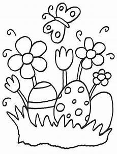 ausmalbild ostern ostereier und osterblumen kostenlos