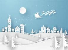 merry christmas card in winter landscape with houses and building and santa claus the sky