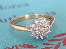 diamond cluster engagement ring vintage flower wedding band