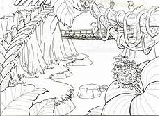 jungle drawing sketch coloring page