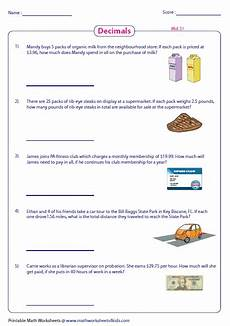 decimal word problems worksheet with answers 7578 decimal word problems worksheets