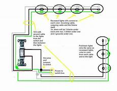 i need a wiring diagram power source to the switch first then to 4 pot lights and then to 3