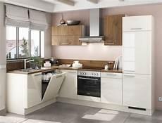 Einbauküche Mit Geräten Günstig - einbauk 252 che mankaco 1 elfenbein glanz eiche k 252 chenzeile