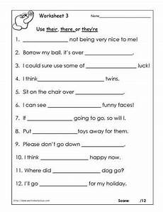 their there or theyre worksheets language arts