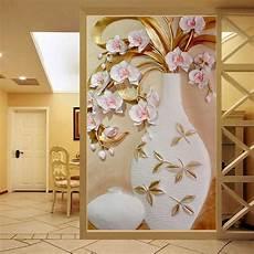 designer wall murals custom 3d mural wallpaper embossed flower vase
