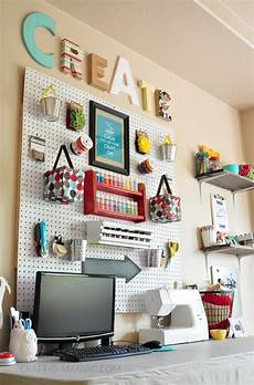 craft room wall with whites and brights