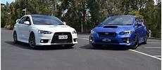 Subaru Or Evo by To Subaru Wrx Sti Vs Mitsubishi Lancer Evo X