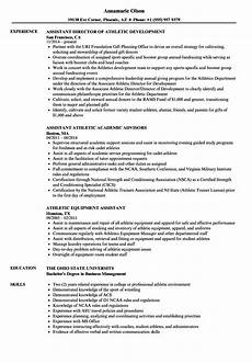 assistant athletic resume sles velvet