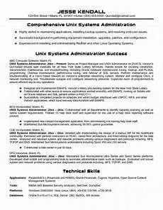 unix systems administrator resume