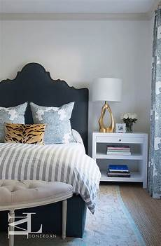 Bedroom Ideas Blue Headboard by Blue Arched Headboard With Nailhead Trim