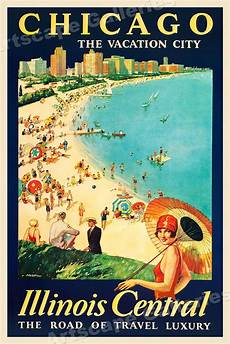 1929 chicago the vacation city vintage style travel poster 24x36 ebay