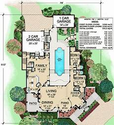 courtyard pool house plans plan 36143tx mediterranean with central courtyard home