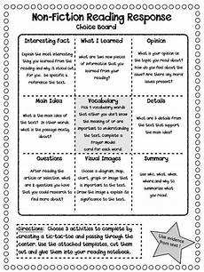 reading worksheets nonfiction reading responses non fiction ela in the middle