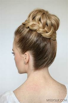 prom hair buns braid high bun sue