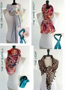 wickeltechnik loop schal scarf tying scarves with without jewels schal binden