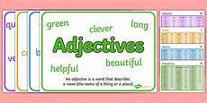 noun adjective adverb and verb word mat and poster