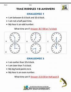 time worksheets math salamander 3089 printable time worksheets time riddles easier