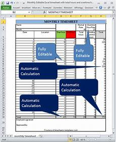 monthly editable excel timesheet with automatic