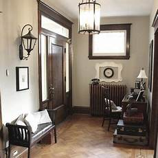 dark wood trim and grey walls i like the grey walls with