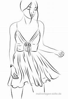 model ausmalen topmodel malvorlage kleid gratis
