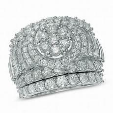 5 ct t w diamond cluster frame three piece bridal in