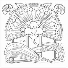 nouveau flower colouring page pattern for embroidery