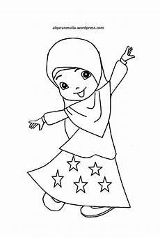 Mewarnai Gambar Kartun Anak Muslimah 78 Alqur Anmulia