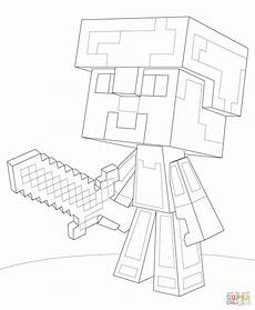 minecraft steve armor coloring page free
