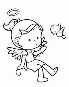Engel Malvorlagen Zum Ausdrucken Comic Kostenlose Malvorlage Engel Engel M 228 Dchen Und Vogel Zum